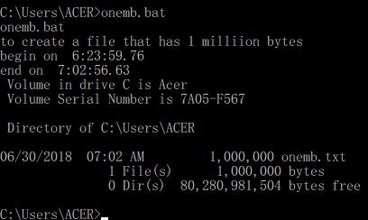 คำสั่งดอส ในแบทช์ไฟล์ DOS Command in Batch File
