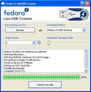 creating live usb : fedora os