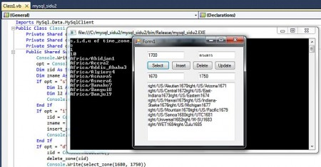 vs.net + console + winapp + mysql + xampp + mysql connector