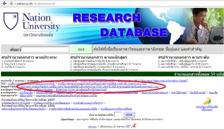 ฐานข้อมูลงานวิจัย มหาวิทยาลัยเนชั่น
