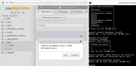 rename mysql database