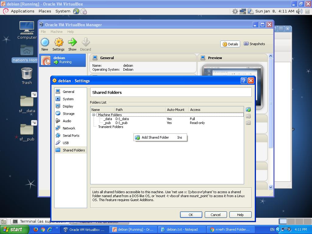 share folder in debian