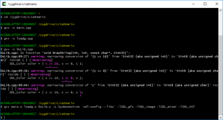 compile and link .. เห็นแปลก ๆ คือ warning นะครับ