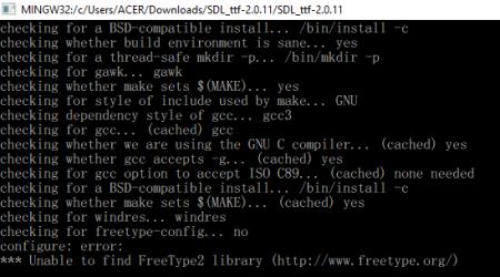 build sdl_ttf แต่ถามหา freetype2 ก็ต้องไป build มาก่อน