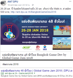 Bangkok game dev by Global game jam 2018