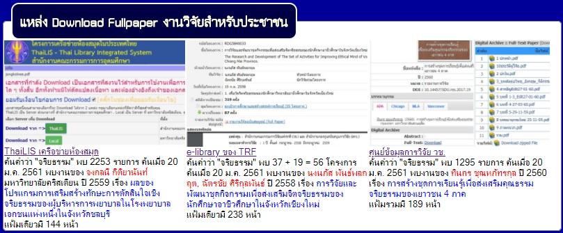สืบค้นงานวิจัย Fullpaper ฟรี สำหรับคนไทย