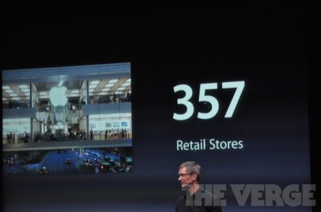 apple : 357 retail stores